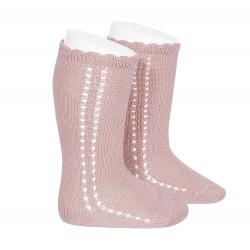 Chaussettes hautes coton ajourée lateral PALE ROSE
