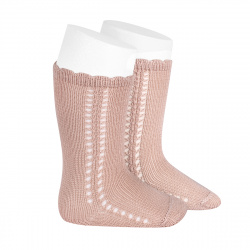 Side openwork perle knee high socks OLD ROSE