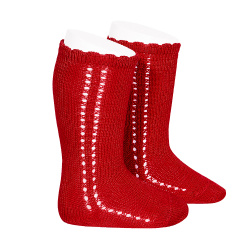 Side openwork perle knee high socks RED