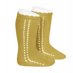 Side openwork perle knee high socks MUSTARD