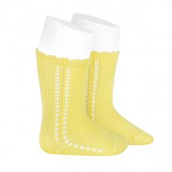 Side openwork perle knee high socks LIMONCELLO