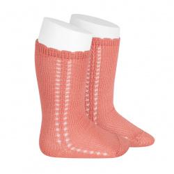 Chaussettes hautes coton ajourée lateral PIVOINE
