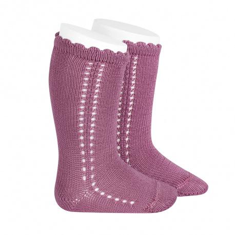 Side openwork perle knee high socks CASSIS