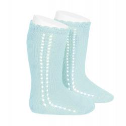 Side openwork perle knee high socks AQUAMARINE