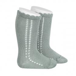 Chaussettes hautes coton ajourée lateral VERT SEC