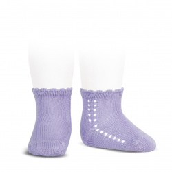 Socquettes perle avec ajourée lateral MAUVE