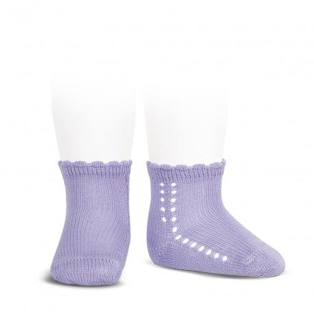 Calcetines cortos perlé con calado lateral MALVA