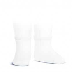 Calcetines cortos perlé con calado lateral BLANCO