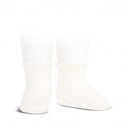 Perle side openwork short socks CREAM