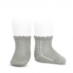 Perle side openwork short socks ALUMINIUM