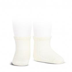 Socquettes perle avec ajourée lateral ECRU