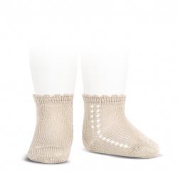 Calcetines cortos perlé con calado lateral LINO