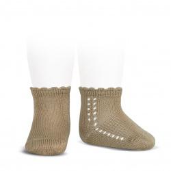 Calcetines cortos perlé con calado lateral CUERDA