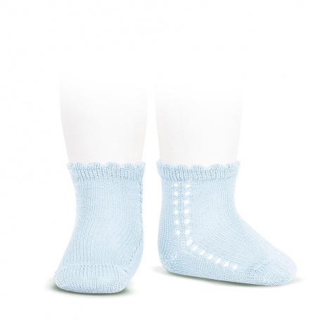 Calcetines cortos perlé con calado lateral AZUL BEBE