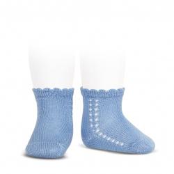Perle side openwork short socks BLUISH