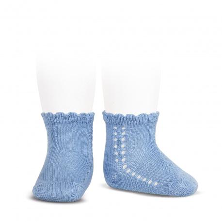 Calcetines cortos perlé con calado lateral AZULADO