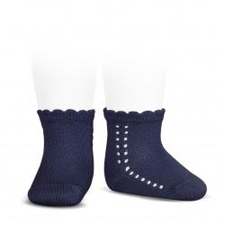 Perle side openwork short socks NAVY BLUE