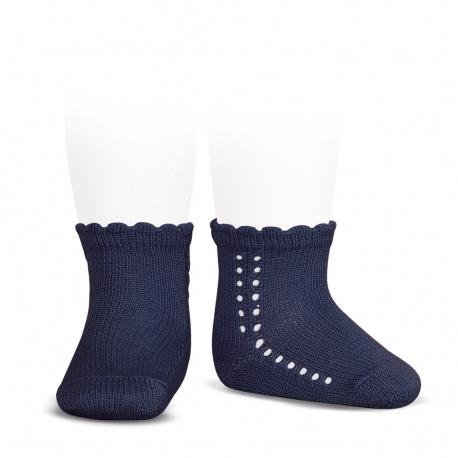 Calcetines cortos perlé con calado lateral MARINO