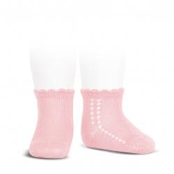 Calcetines cortos perlé con calado lateral ROSA