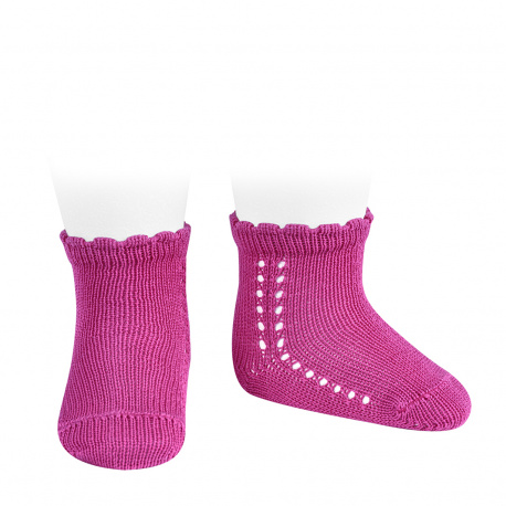 Calcetines cortos perlé con calado lateral BUGAMBILIA