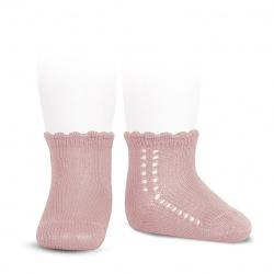 Calcetines cortos perlé con calado lateral ROSA PALO