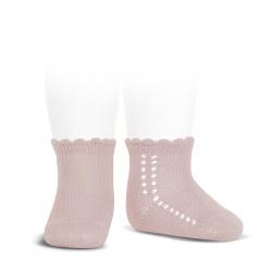 Calcetines cortos perlé con calado lateral ROSA EMPOLVADO