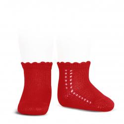 Calcetines cortos perlé con calado lateral ROJO