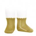Calcetines cortos perlé con calado lateral MOSTAZA