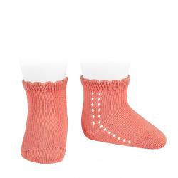 Calcetines cortos perlé con calado lateral PEONIA