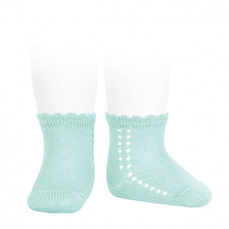 Calcetines cortos perlé con calado lateral AGUAMARINA