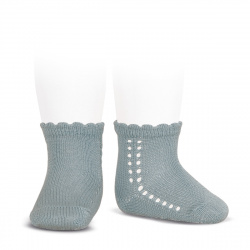 Perle side openwork short socks DRY GREEN