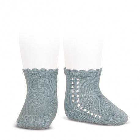 Calcetines cortos perlé con calado lateral VERDE SECO