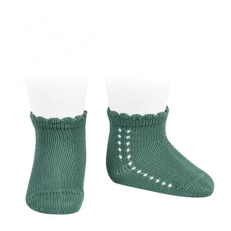 Calcetines cortos perlé con calado lateral CEDRO