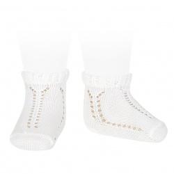 Perle openwork short socks with fancy cuff WHITE
