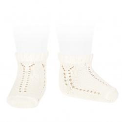 Perle openwork short socks with fancy cuff CREAM