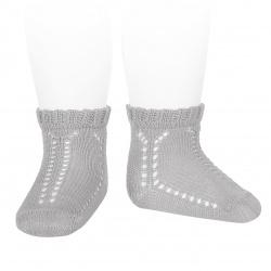 Perle openwork short socks with fancy cuff ALUMINIUM