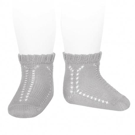 Calcetines cortos calados perlé puño fantasía ALUMINIO