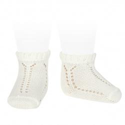 Perle openwork short socks with fancy cuff BEIGE