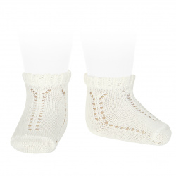 Sockettes ajourées perle bordure en relief ECRU