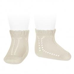 Perle openwork short socks with fancy cuff LINEN
