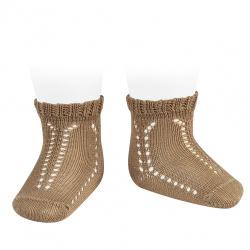 Perle openwork short socks with fancy cuff CAMEL