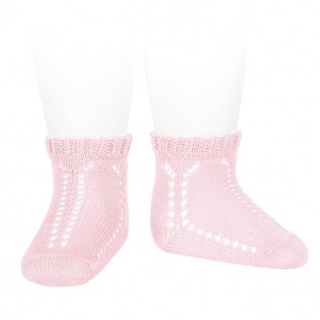 Calcetines cortos calados perlé puño fantasía ROSA