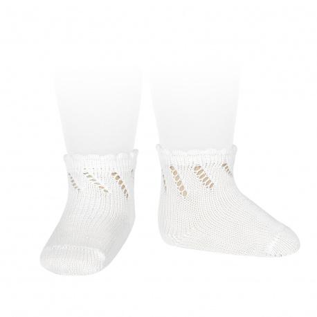Perle diagonal openwork short socks WHITE