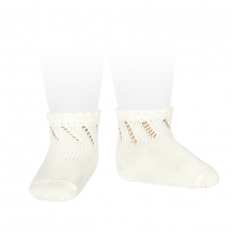 Perle diagonal openwork short socks BEIGE