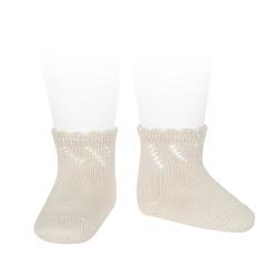 Perle diagonal openwork short socks LINEN