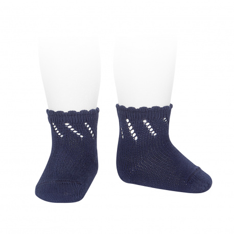 Perle diagonal openwork short socks NAVY BLUE