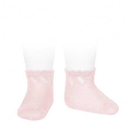 Perle diagonal openwork short socks PINK