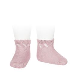 Calcetines cortos perlé calados ROSA PALO