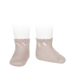 Perle diagonal openwork short socks OLD ROSE