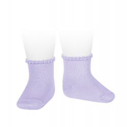 Short socks with patterned cuff MAUVE